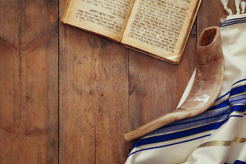 Prayer Shawl - Tallit and Shofar (horn) jewish religious symbol. Prayer Shawl - Tallit and Shofar (horn) jewish religious symbol stock image