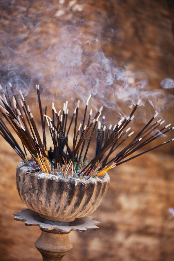 Prayer stick. Traditional incense stick at temple in Sri Lanka stock image