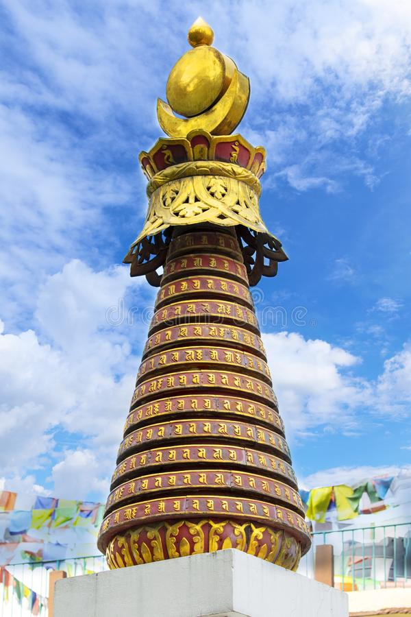 Prayer stupa of Swayambhunath Monkey Temple blue sky on background royalty free stock image
