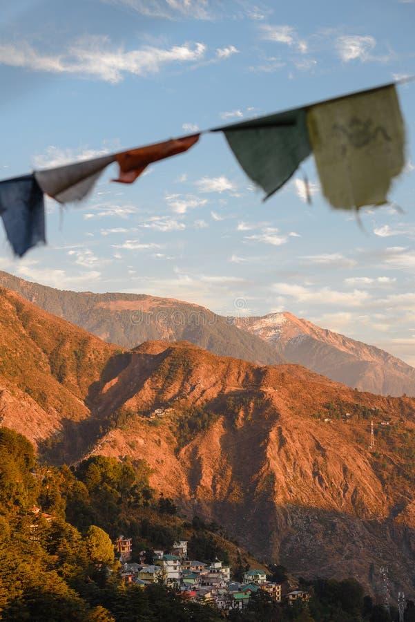 Prayer tibetian flags in mountains stock photo