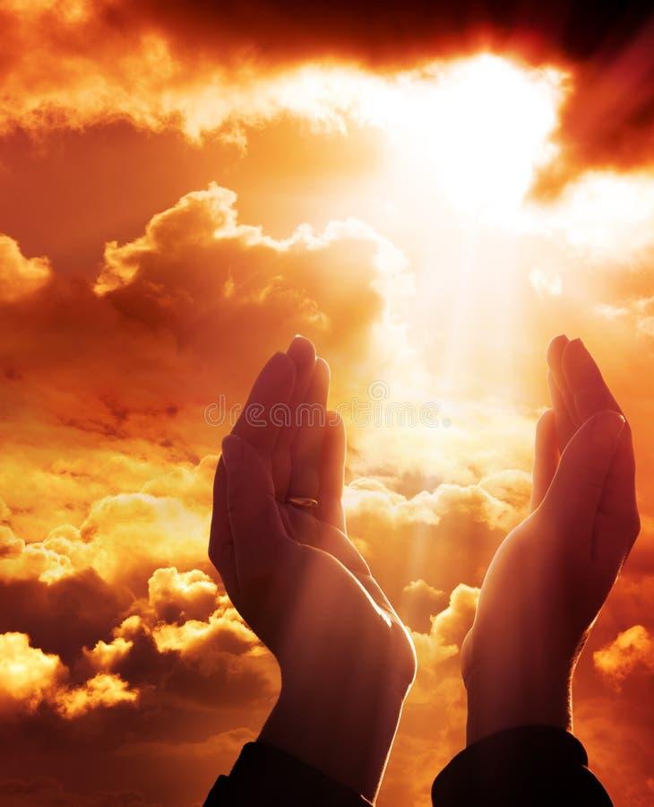 Prayer to heaven. Faith concept royalty free stock photo