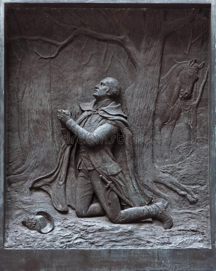 The prayer at Valley Forge. At the Federal Hall in New York stock images