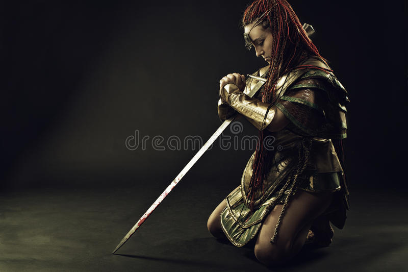 Prayer of warrior royalty free stock image