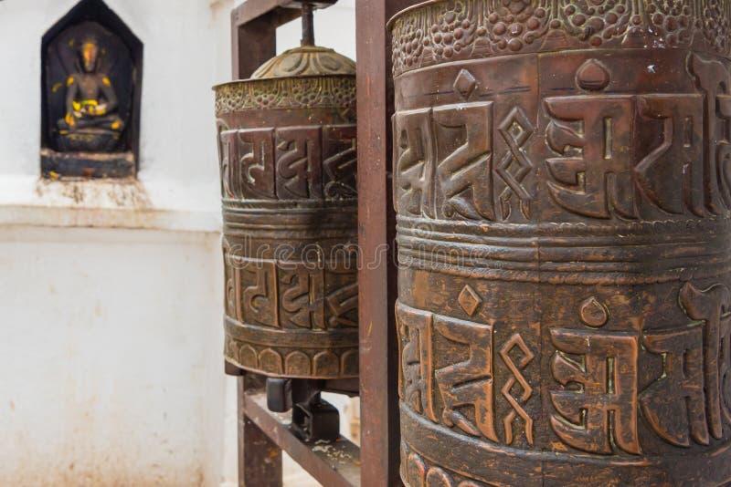 Prayer wheel at Boudhanath Boudha Stupa in Kathmandu, Nepal royalty free stock photography