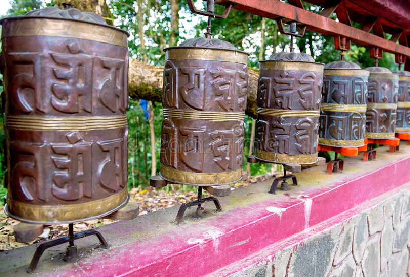Prayer wheel in Sikkim. The Indian Himalayas royalty free stock image
