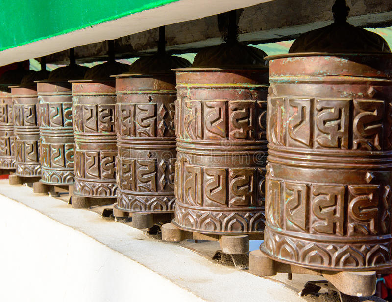 Prayer wheel in of Sikkim. The Indian Himalayas royalty free stock photos