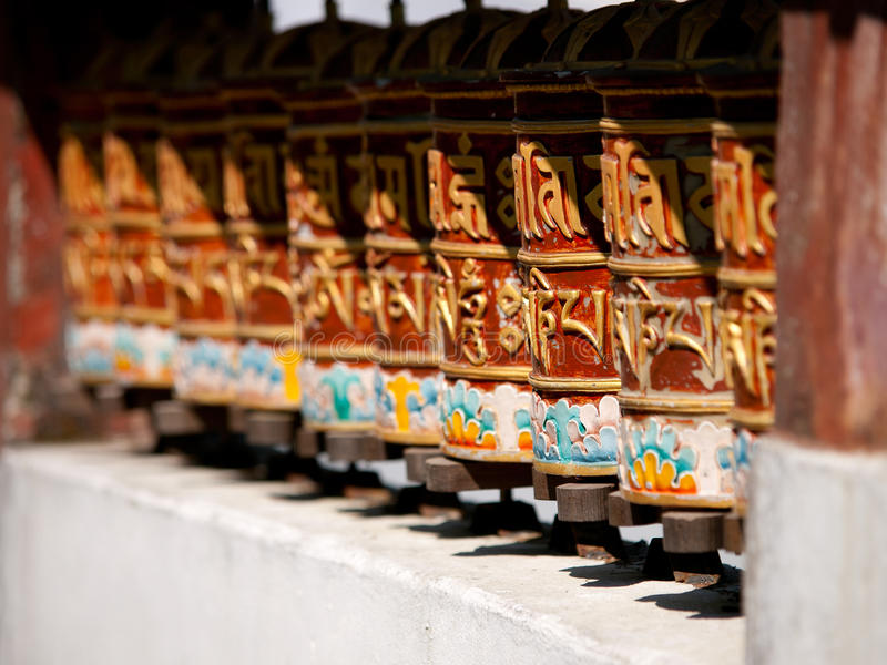 Prayer wheels for good karma in Sikkim, India stock photo