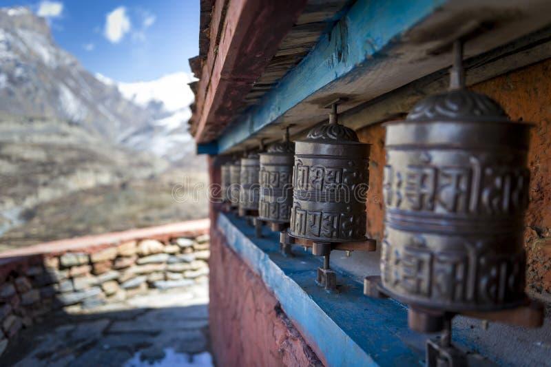 Prayer wheels in Himalaya royalty free stock images