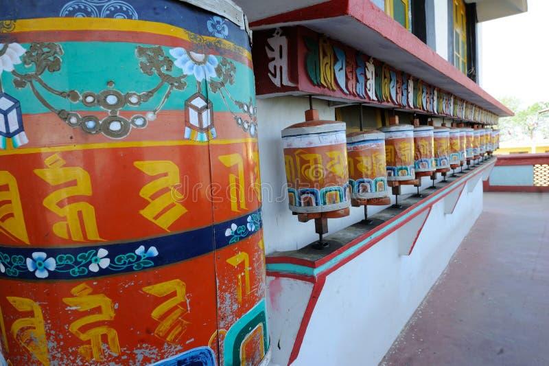 Prayer Wheels in Monastery, Darjeeling, India. Prayer Wheels in Monastery in Kalimpong, Darjeeling, India royalty free stock photography