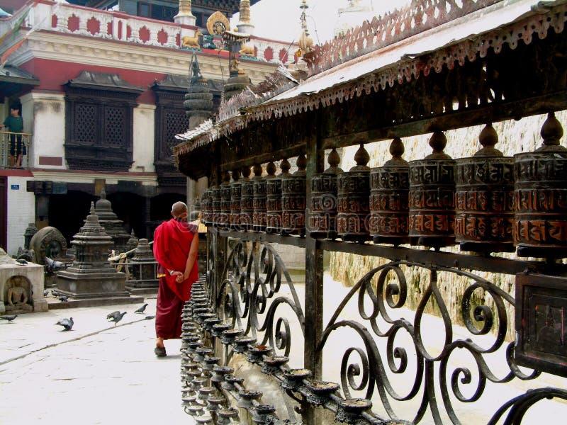 Prayer wheels, Swayambhunath Stupa, Kathmandu royalty free stock photography