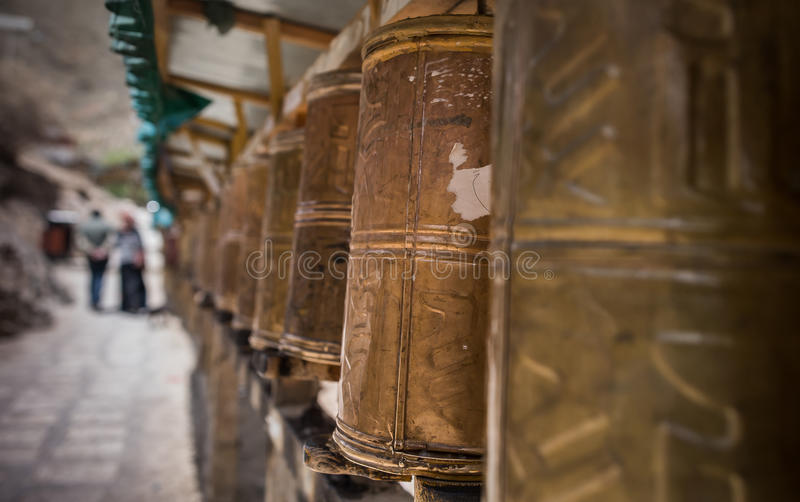 Prayer wheels at Tashi Lhunpo monastery royalty free stock photo