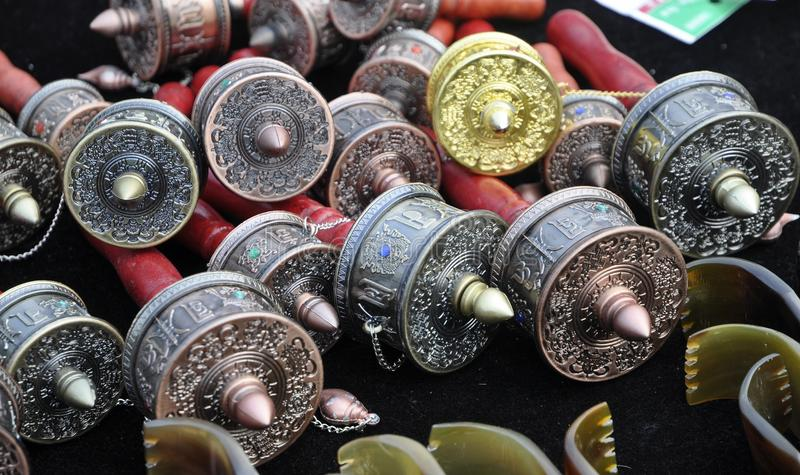 Prayer Wheels in Tibet. Various small Prayer Wheels in Tibet royalty free stock image