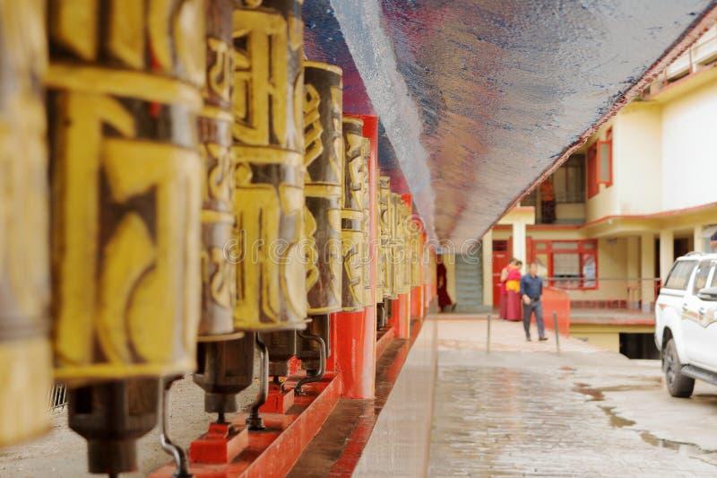 Prayer wheels at Tibetan Buddhist monestary royalty free stock photography