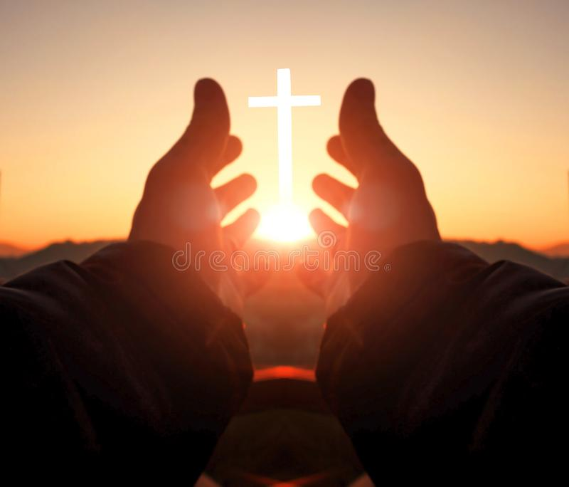 Prayer and worship concept:Human hands open palm up worship royalty free stock photos