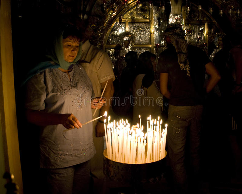 Prayers in the Church of the Holy Sepulchre, Jer. royalty free stock photo