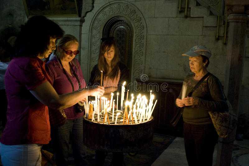 Prayers in the Church of the Holy Sepulchre, Jer. royalty free stock photos