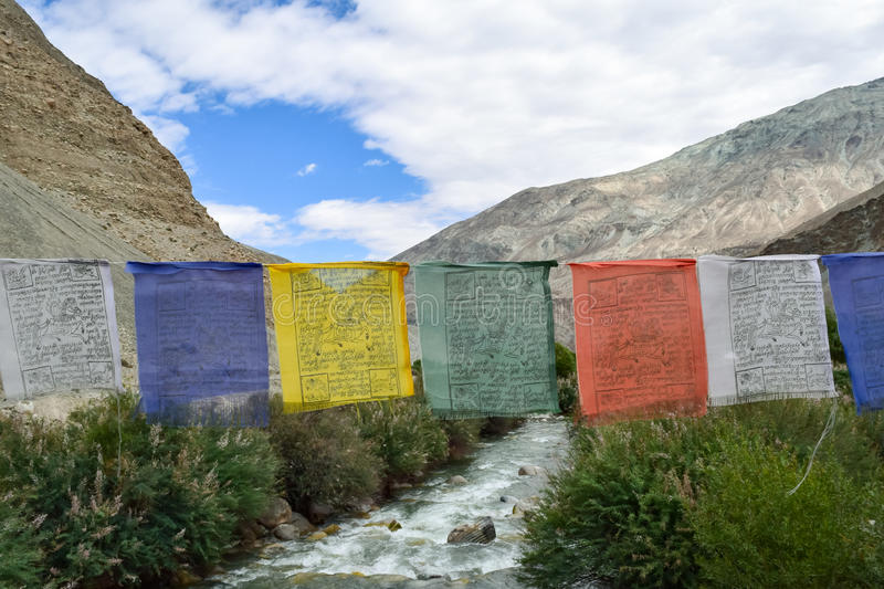 Prayers flags of Buddhist religion. Prayer flag are hanged to bless surrounding in Buddhism. They can easily seen in leh ladakh region of india royalty free stock photo