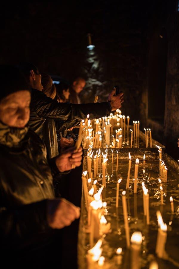 Prayers. The Khor Virap Armenian: Ô½Õ¸Ö€ ÕŽÕ«Ö€Õ¡Õº, meaning `deep dungeon` is an Armenian monastery located in the Ararat plain in Armenia stock image
