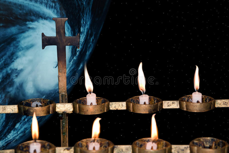 Prayers to heaven for earth stock photo