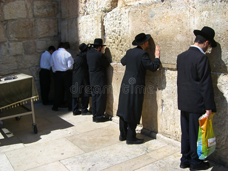 Prayers at the Wailing Wall royalty free stock photos