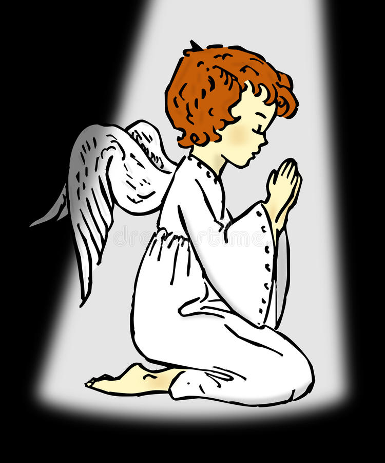 Praying Angel. In a dark place, lighted by God vector illustration