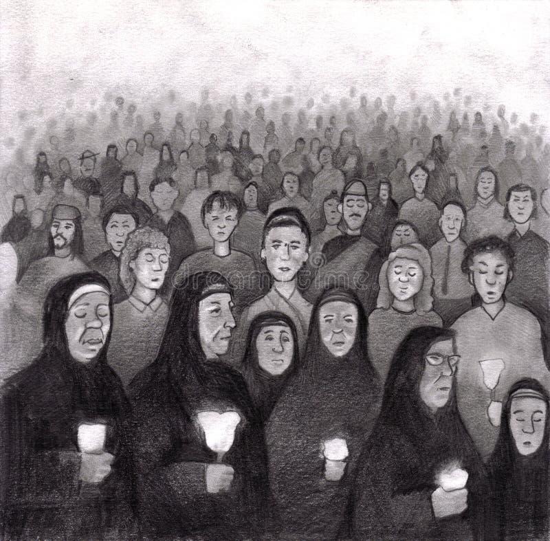 Download Praying By Candle Light In Lourdes, France Stock Illustration - Illustration: 13620516