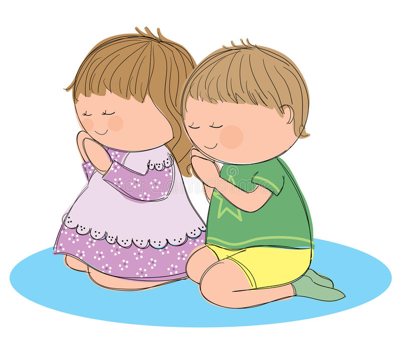 Praying children. Hand drawn picture of two children praying. Illustrated in a loose style. Vector eps available