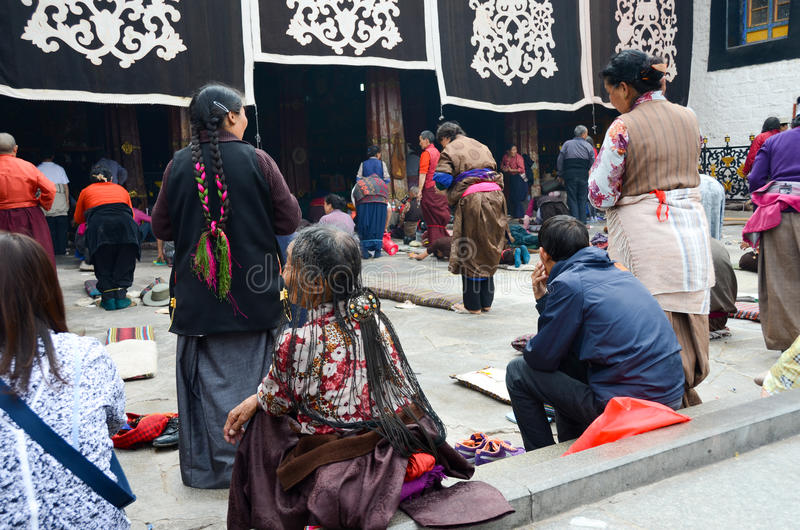 Praying of Dazhao Temple in Tibet stock images