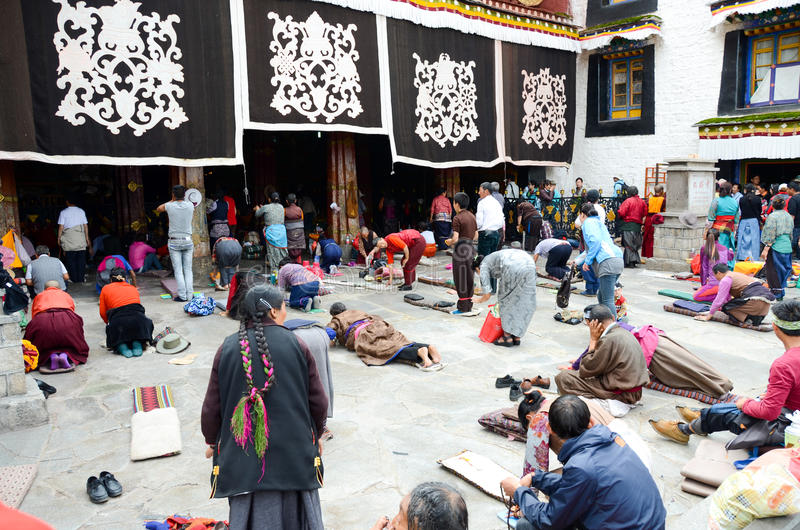 Praying of Dazhao Temple in Tibet royalty free stock photo