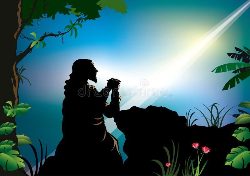 Praying de Jesus ilustração do vetor