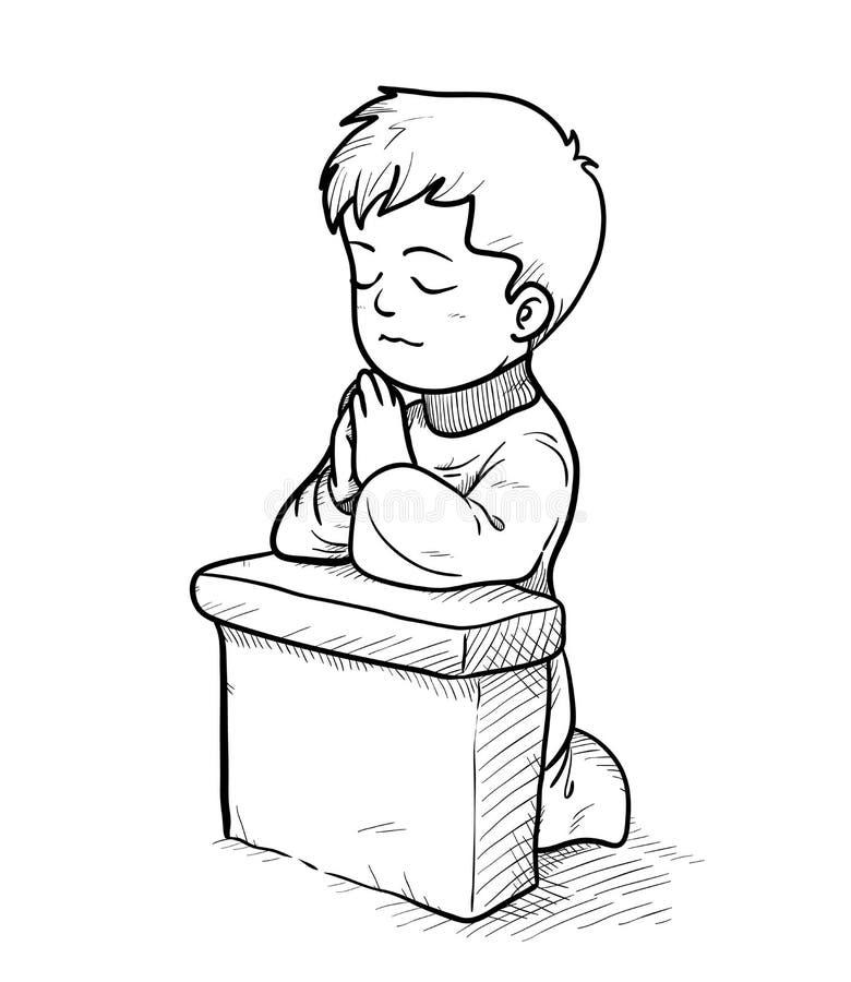 Praying Doodle vector illustration