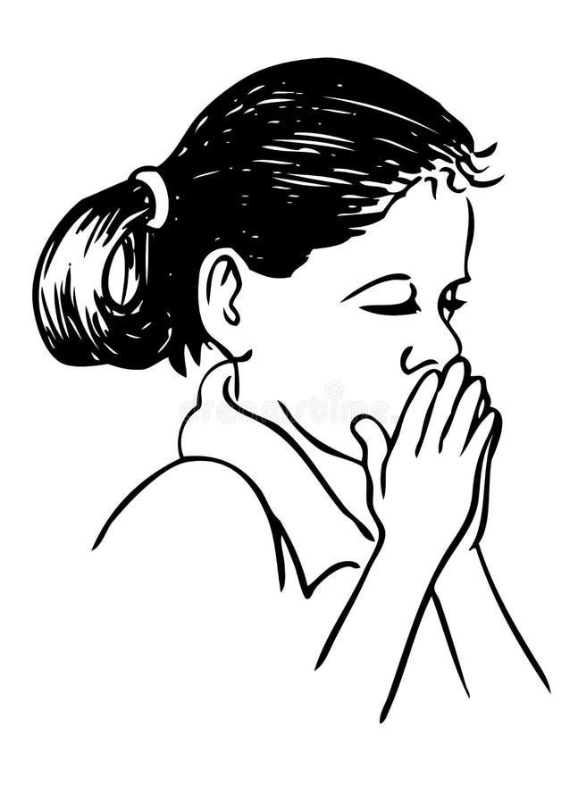 Praying girl royalty free illustration