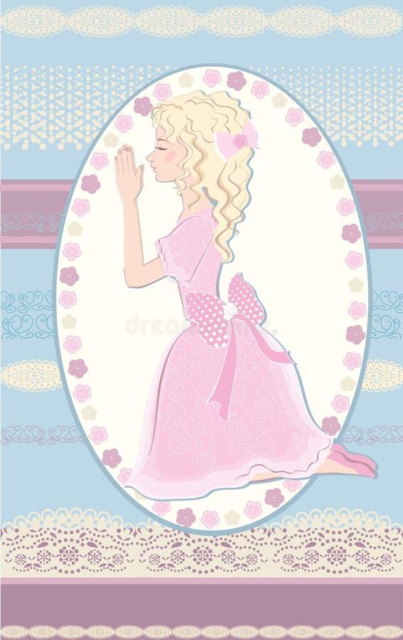 Praying girl stock illustration