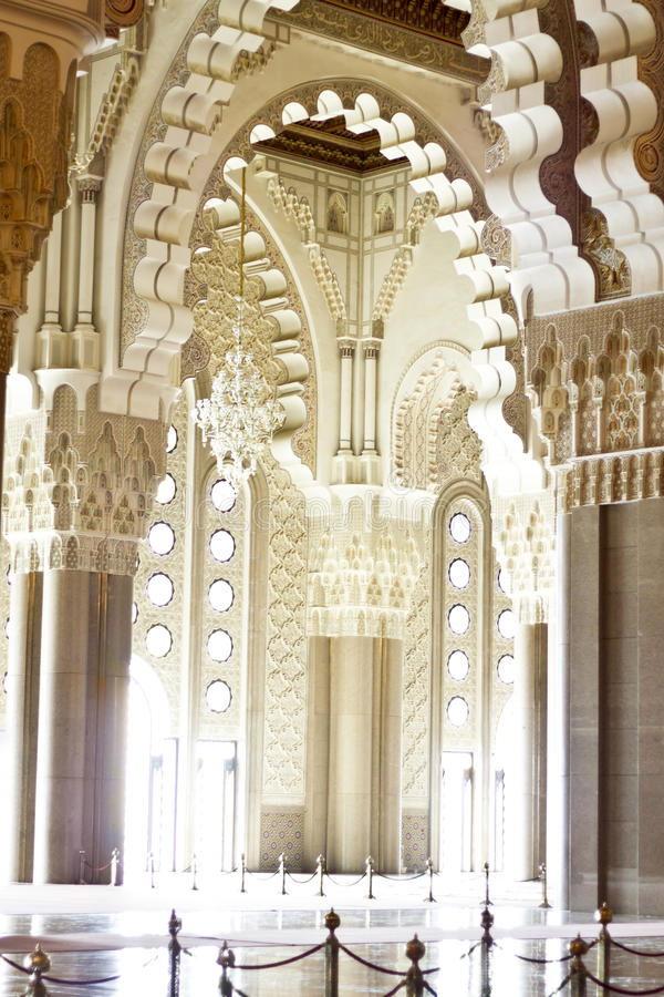 Praying Hall Of The Mosque Of Hassan II Royalty Free Stock Photos