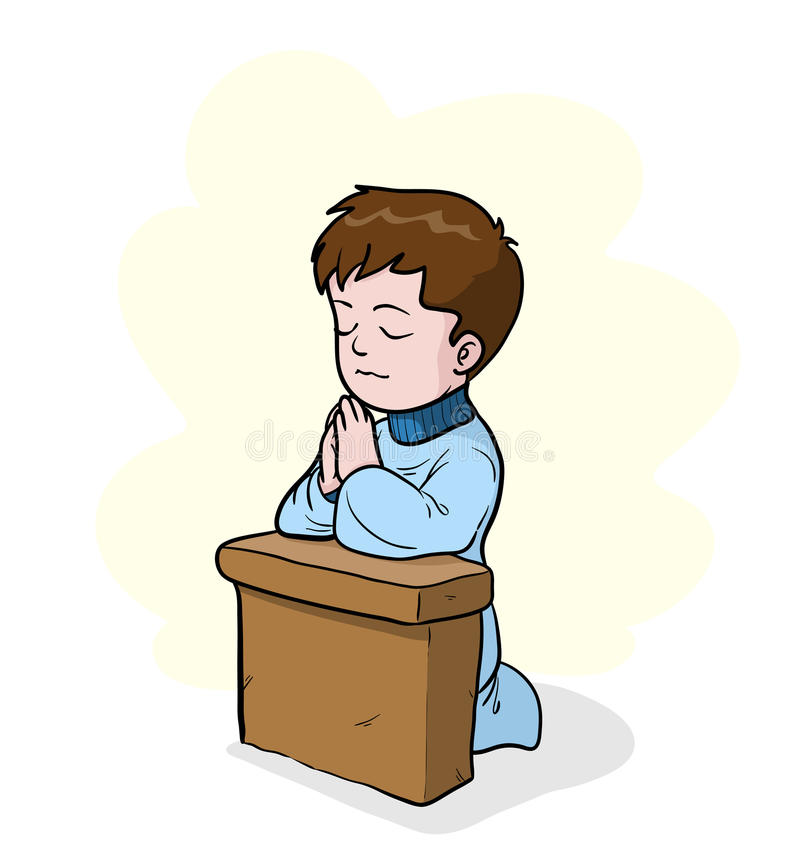 Praying. A hand drawn vector illustration of a little kid on his knees, praying, the main object, shadow, and the simple background are on separate groups for stock illustration