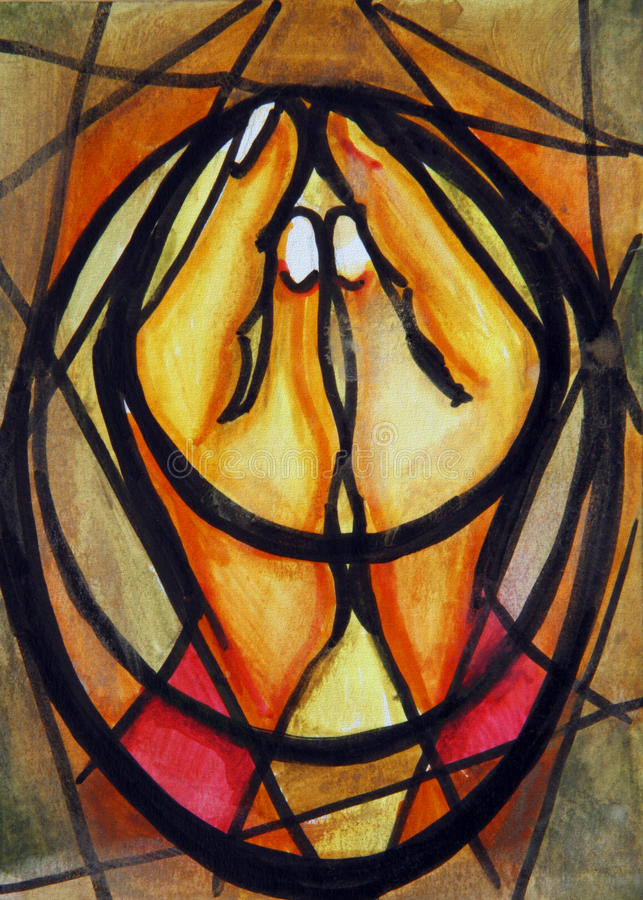 Praying Hands. Cubist Expressionist painting of praying hands vector illustration
