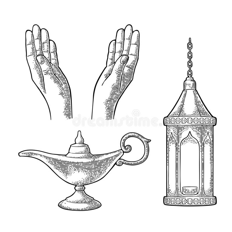 Praying Hands, arabic lamp with chain and Aladdin lamp royalty free illustration