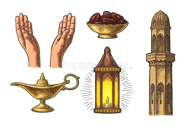 Praying Hands, arabic lamp,dates fruit, minaret and Aladdin lamp royalty free illustration