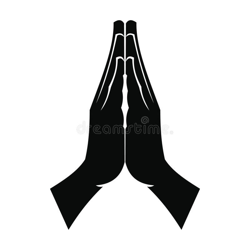 Praying hands black simple icon stock photography