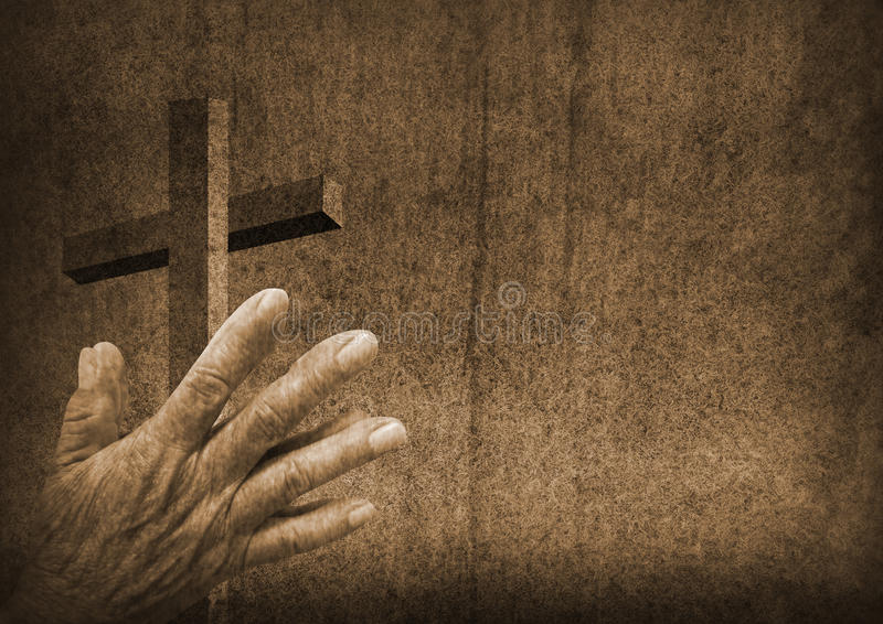 Praying hands with cross. Praying hands and christian cross stock image