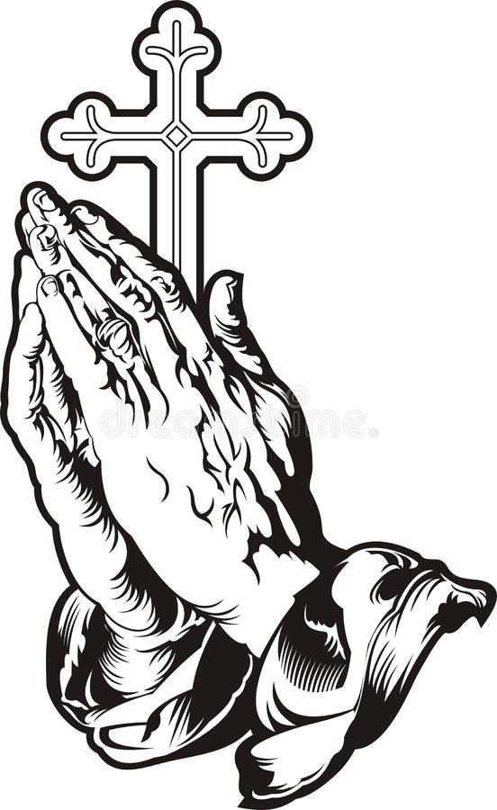 Praying hands with cross silhouette. Vector royalty free illustration