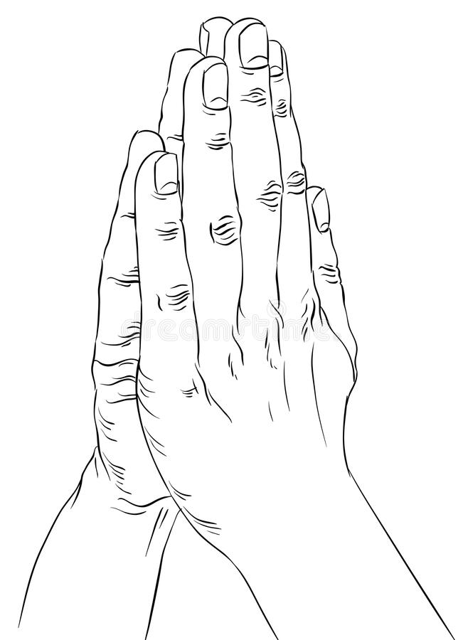 Praying hands, detailed black and white lines vector illustration, hand drawn. vector illustration