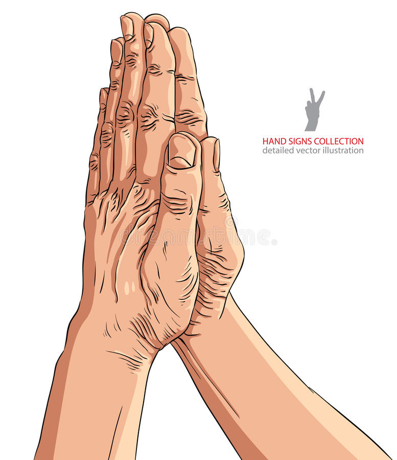 Praying Hands, Detailed Vector Illustration. Stock Vector