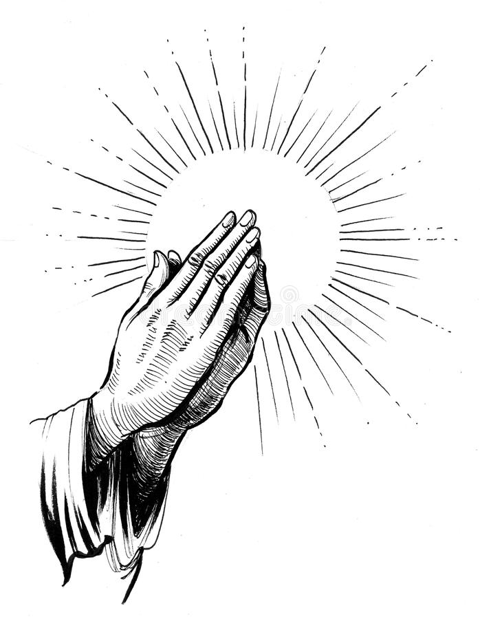 Praying hands. Ink black and white illustration of a praying hands and halo vector illustration
