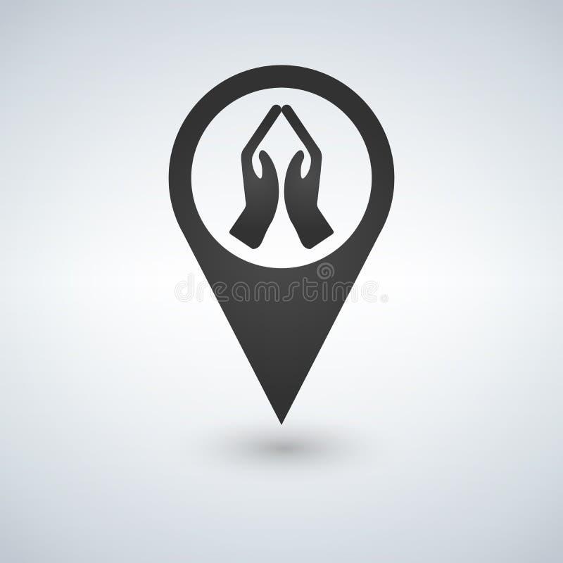 Praying hands map pointer icon. stock illustration