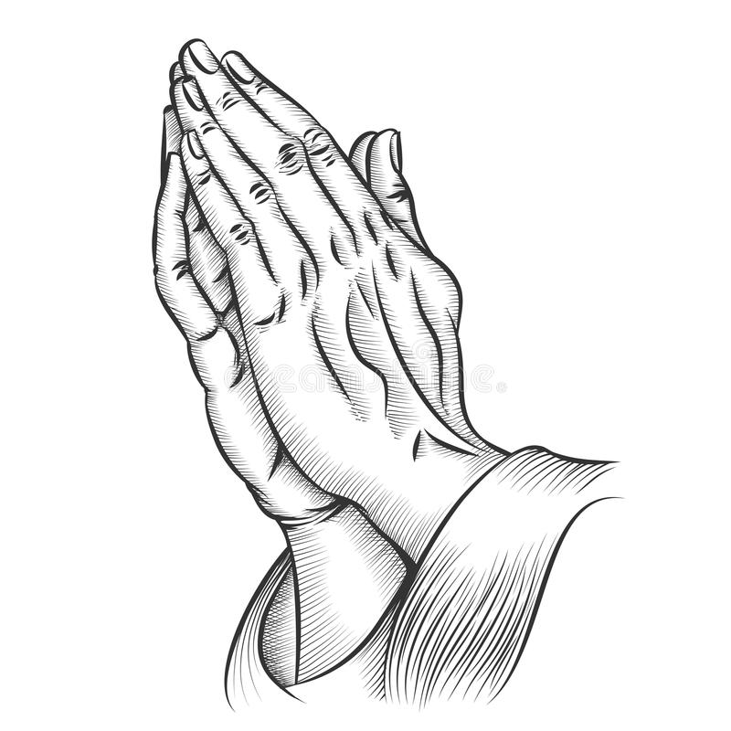 Praying hands. Religion and holy catholic or christian, spirituality belief and hope. Vector illustration stock illustration