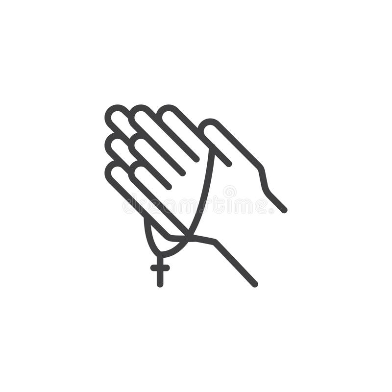 Praying hands with rosary outline icon. Linear style sign for mobile concept and web design. Religion simple line vector icon. Symbol, logo illustration. Pixel vector illustration