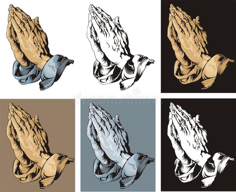 Praying Hands set vector illustration
