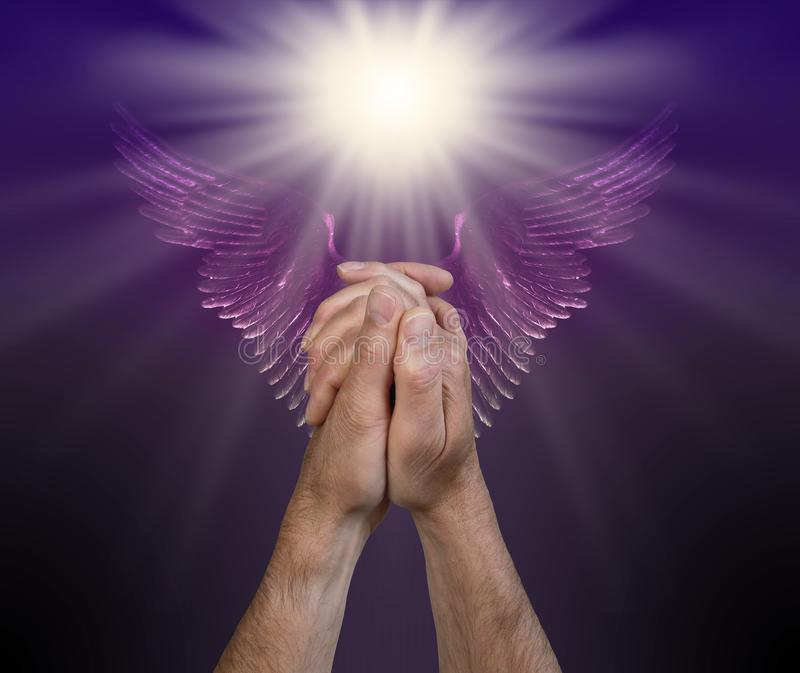 Praying for help from the Angelic Realms royalty free stock photography