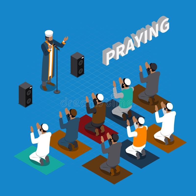 Praying In Islam Isometric Composition vector illustration
